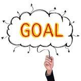 Concept  pencil idea hand isolate write yellow and red goal. Concept  pencil idea hand isolate write yellow and red goal business illustration vector Stock Photos