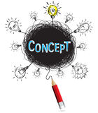 Concept pencil idea isolate write blue concept education. And business illustration vector Royalty Free Stock Image