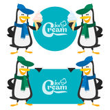 Concept penguins and ice cream Royalty Free Stock Image