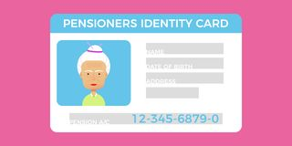 Concept of pensioner id card.Grandparent identity card. Flat vector illustration for web royalty free illustration