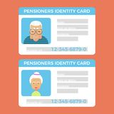 Concept of pensioner id cards.Grandparents identity card. Flat vector illustration for web stock illustration