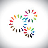 Concept of people as cogwheels representing communities & teams. This colorful vector graphic can represent concept teams interacting and collaborating with Royalty Free Stock Photos