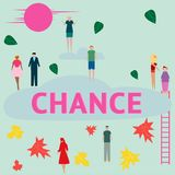 Concept. People are looking for a chance. Vector. Illustration royalty free illustration