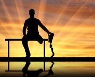 Concept of people with prosthetic legs Royalty Free Stock Photography