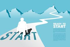 Silhouette of businessman ready to run from start line to top of mountain. vector illustration