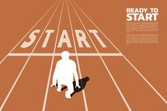 Silhouette of businessman ready to run from start line. stock illustration