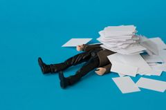 Concept, people swamped with paperwork Stock Photo