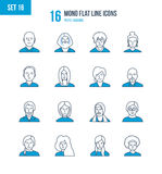 Concept - people and their avatars, images of , profession. Mono Flat Line icons set of people and their avatars, images of people and their profession. Office royalty free illustration