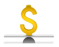 Concept perfect saldo met gouden dollarteken Stock Foto's