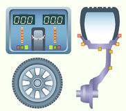 Concept of perfect Wheel Balancing. Perfect Wheel Balancing. Diagram of car disk with the tire on the balancing machine. Balancer monitor with an excellent Stock Image