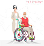 Concept of  person disability. Senior disabled man in wheelchair and social worker isolated on white background. Vector flat illustration Stock Image
