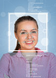 Concept of person identification. Girl face with Stock Image