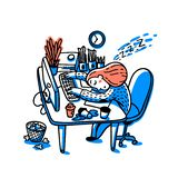 Concept of person overwhelmed by work. Information overload concept. Young woman sleeping on her workplace. Colorful royalty free illustration