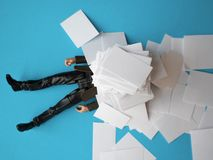Concept, people swamped with paperwork Stock Photos