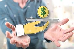 Concept of personal loan. Personal loan concept above the hands of a man in background royalty free stock photos