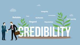Concept personnel d'affaires de crédibilité avec le grand texte et une certaine diffusion de chose autour des objets - vecteur illustration stock