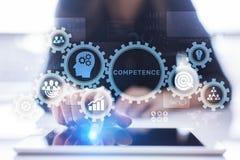 Concept personnel d'affaires de développement de compétence de compétence sur l'écran virtuel photos stock