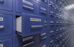 Concept personnel de protection des données et d'intimité Beaucoup de coffrets avec des documents et des dossiers 3D a rendu l'il Image stock