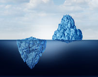 Concept Of Perspective. As a business metaphor for comprehension and vision of discovery and reality as a big and small iceberg symbol as a 3D illustration Stock Photography