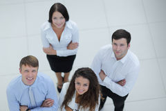Successful business team looking up. Concept of perspective. professional business team Stock Photo