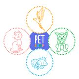 Concept of a pet shop i. N the form of linear icons puppy, kitten, fish and parrot . Icon in the linear style Stock Photo