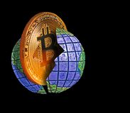 Bitcoin cryptocurrency globe Royalty Free Stock Photography