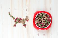 Concept photo cat and dry food in bowl, top view. Close-up royalty free stock photos