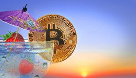 Bitcoin summer cocktail stock photos