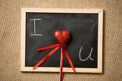 Concept photo of declaration of love written on blackboard Royalty Free Stock Image