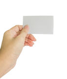 Concept photo of hand hold business card, credit card or blank p Royalty Free Stock Images