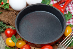 Concept photo - ingredients for cooking fried eggs Royalty Free Stock Photography