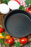 Concept photo - ingredients for cooking fried eggs, top view Stock Photography