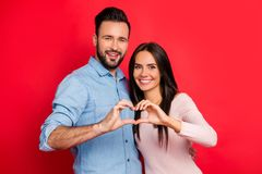 Concept photo of love story of cheerful, attractive, lovely, cut royalty free stock photography