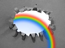 Rainbow breakthrough barrier bright future success hope mind royalty free stock image