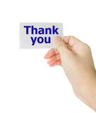 Concept photo of right hand hold paper with wording thank you Stock Photography