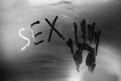 Concept photo of sex in the bathroom. Inscription