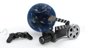 The concept of photo sharing movies and games all over the world, 3d rendering. The concept of photo sharing movies and games all over the world, 3d render Royalty Free Stock Image