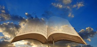 Open bible spiritual light Stock Photos