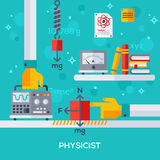 Concept of physicist workplace Royalty Free Stock Images