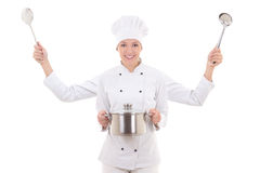 Concept picture of attractive woman in chef uniform with four ha Stock Image