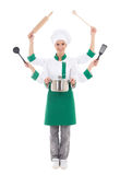 Concept picture of attractive woman in chef uniform with six han. Ds isolated on white background Royalty Free Stock Photos