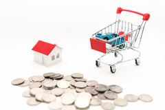 Concept picture of Buying house and car royalty free stock photos