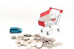 Concept picture of Buying house and car stock photos