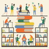 Concept picture with mascots male and female which reading books in library. Education with books vector. Study knowledge illustration stock illustration