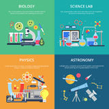Concept pictures with science symbols. School laboratory for testing and analysis stock illustration