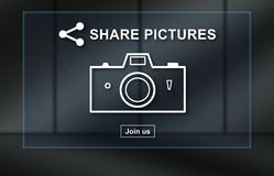 Concept of pictures sharing. Pictures sharing concept on dark background vector illustration