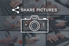 Concept of pictures sharing Stock Photos