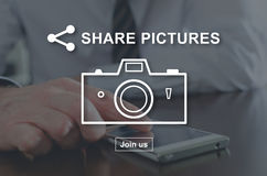 Concept of pictures sharing. Pictures sharing concept illustrated by a picture on background Stock Images