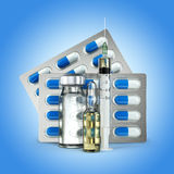 Concept of Pills, vial, ampoule and syringe on blue. Background. 3d Stock Photography