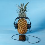 The concept of pineapple listening to music on headphones stock photos